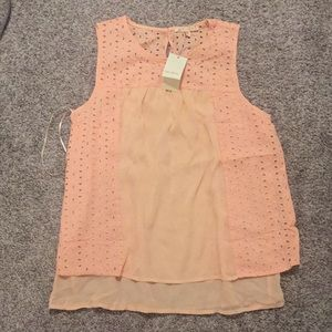 Skies are blue peach tank small nwt